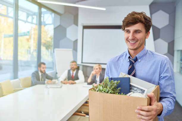 happy young man starting career in business - leaving stock photos and pictures