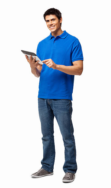 Happy young man using digital tablet on white background stock photo