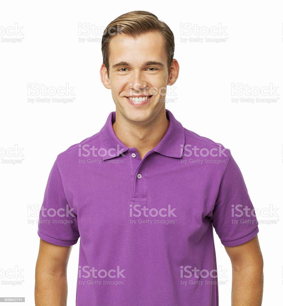 639179f21d Foto de Feliz Jovem Homem Vestindo Camisa Polo Roxo e mais banco de ...