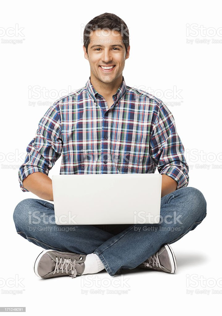 Happy Young Man With a Laptop - Isolated royalty-free stock photo