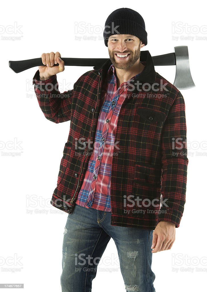 Happy young man with an axe royalty-free stock photo