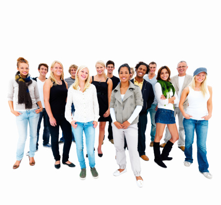 Happy Young Men And Women Standing Together Stock Photo - Download Image Now