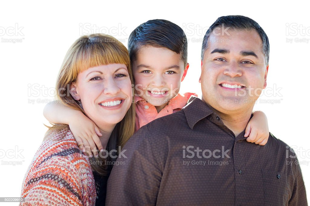 Happy Young Mixed Race Family Isolated on White stock photo