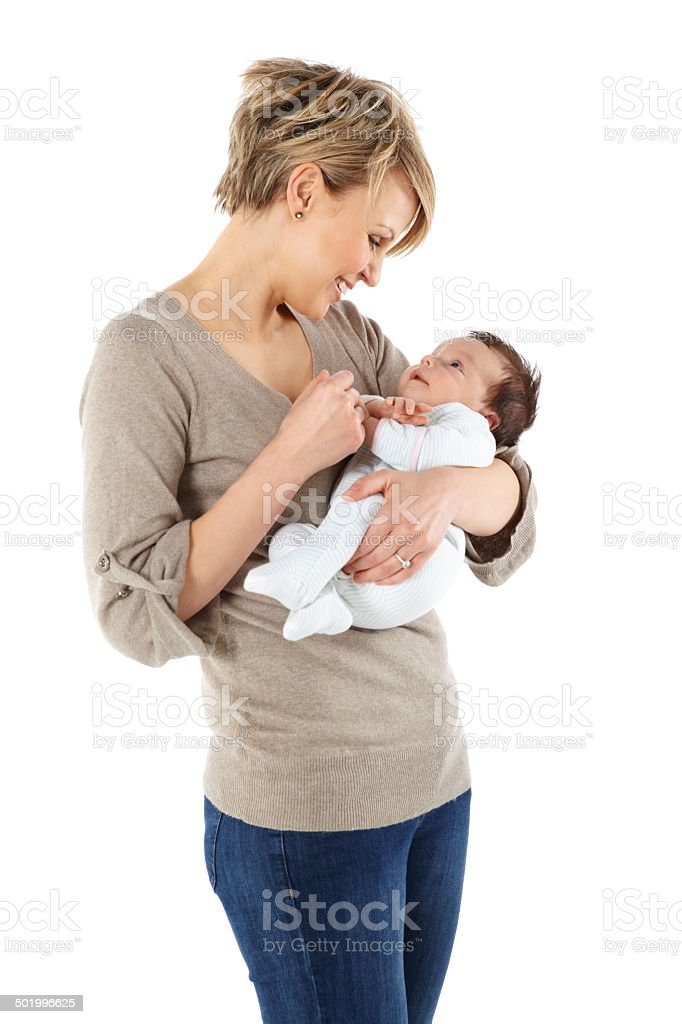Happy young mother and baby girl stock photo