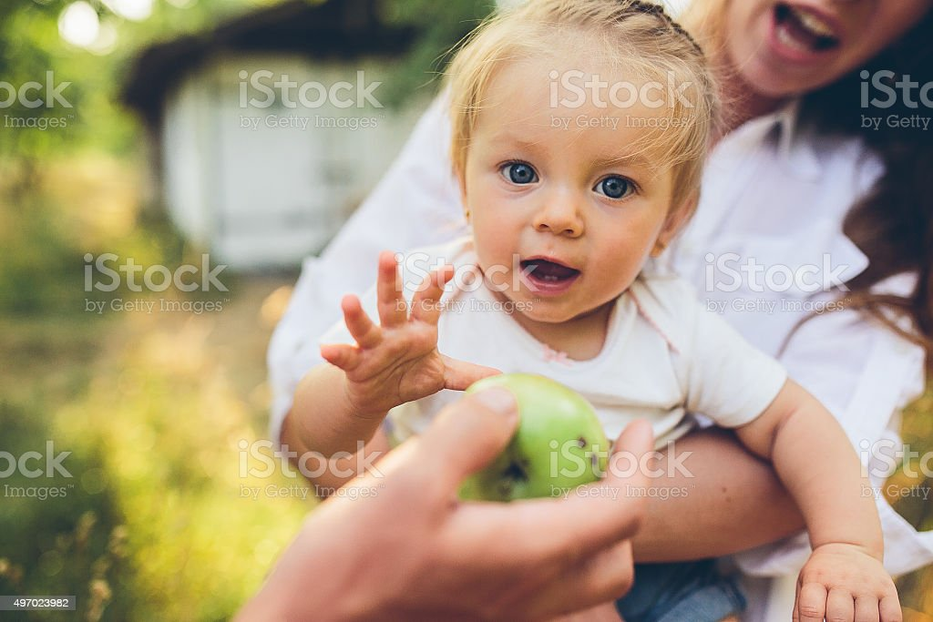 Happy young mother and lovely daughter stock photo