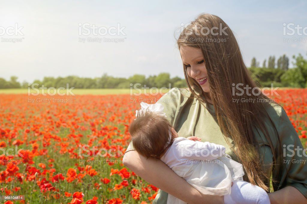 Happy young mother holding her baby in a poppy field zbiór zdjęć royalty-free