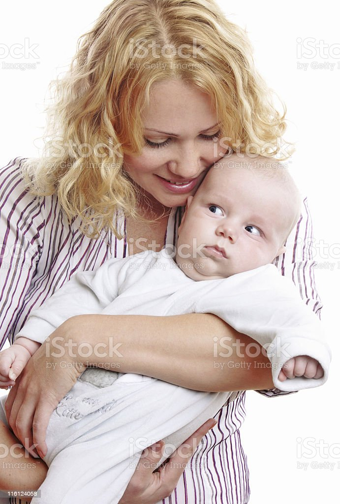 Happy young mother with baby stock photo