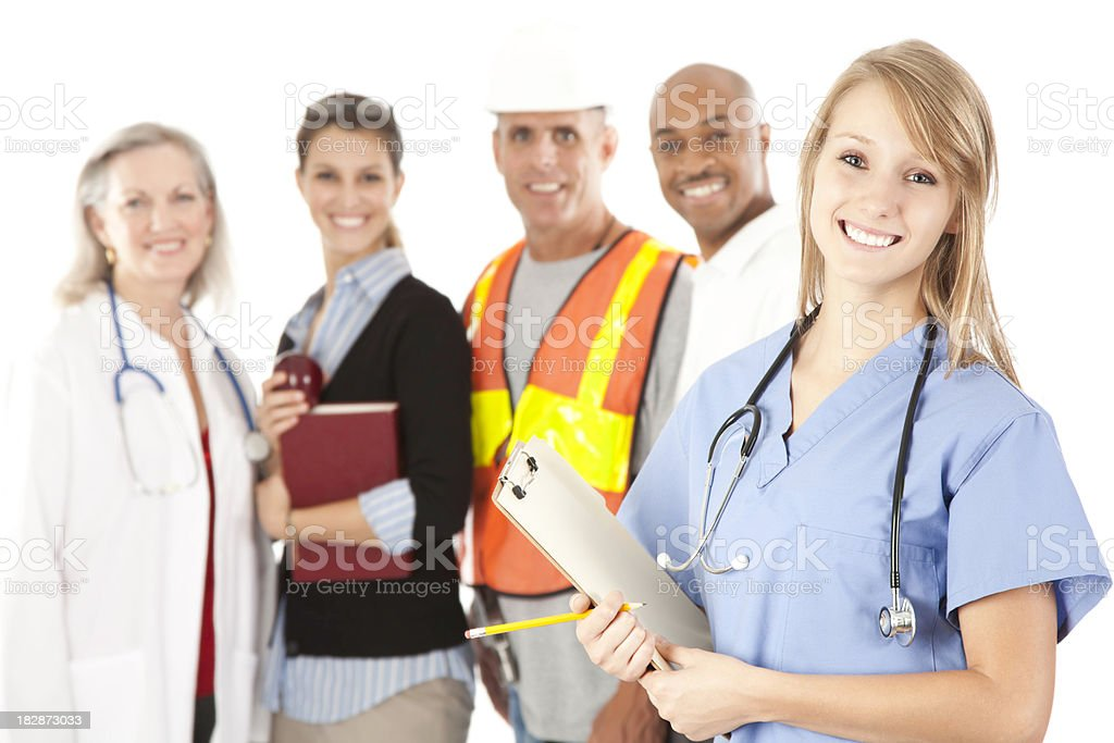 Happy Young Nurse And People From Different Walks of Life stock photo