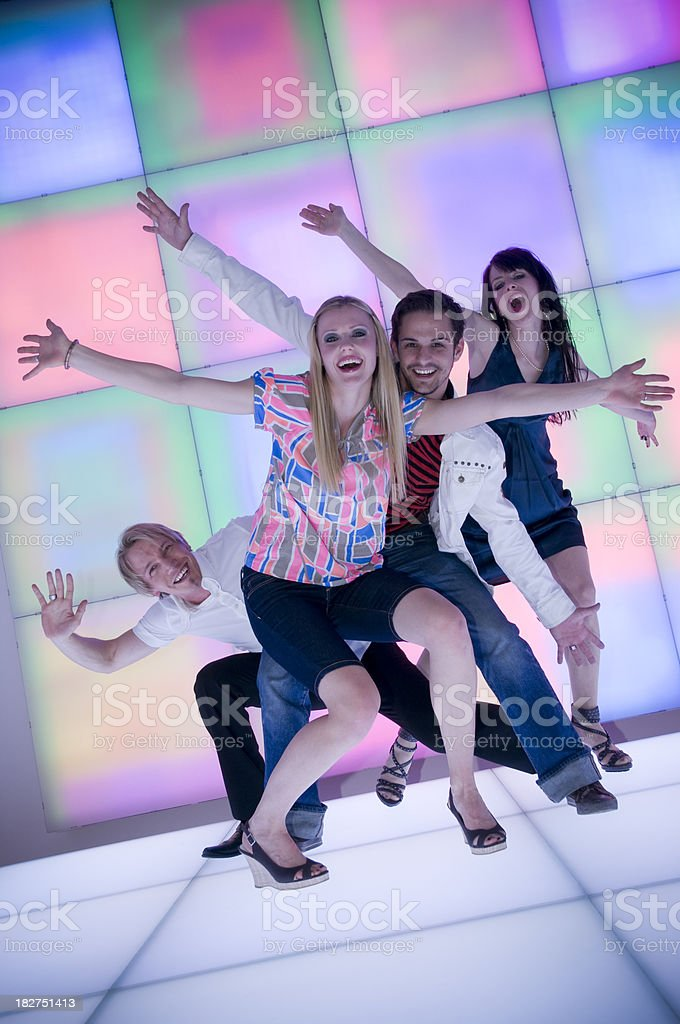 happy young people at nightlife royalty-free stock photo
