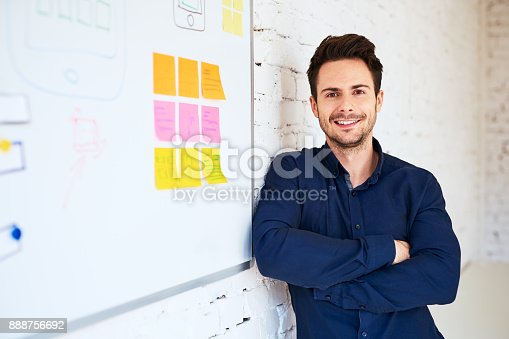 istock Happy young programmer, web designer standing at office 888756692