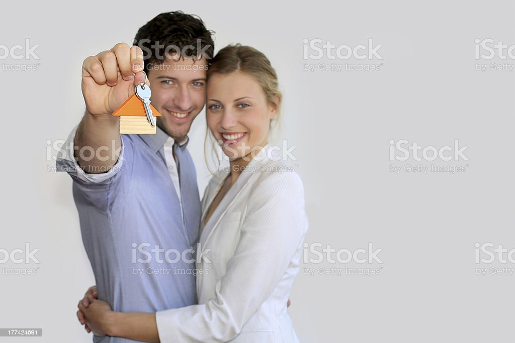 Happy young property owners stock photo