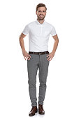 istock happy young smart casual man with hands on waist 1131989210