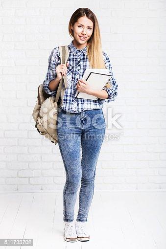 istock Happy young student girl 511733702