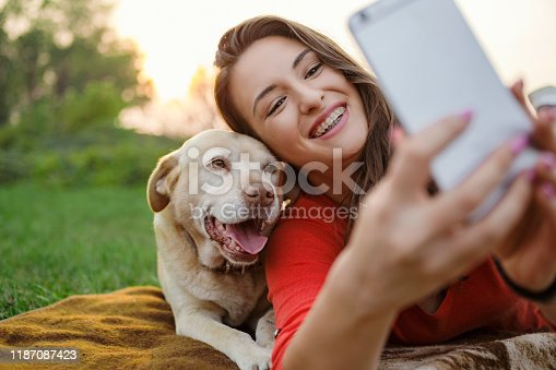636418612 istock photo Happy young woman and her Labrador dog taking selfie 1187087423