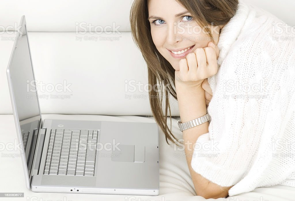 Happy young woman at home. royalty-free stock photo