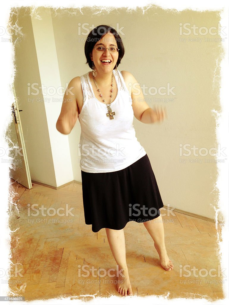 Happy Young Woman Barefoot During Home Renovation royalty-free stock photo