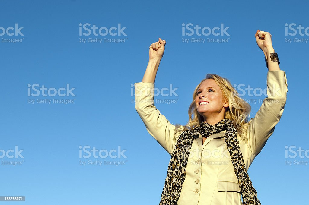 Happy Young Woman Cheering royalty-free stock photo