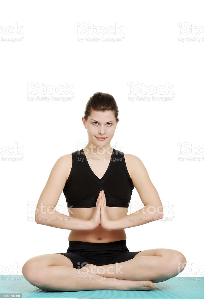 happy young woman doing yoga royalty-free stock photo