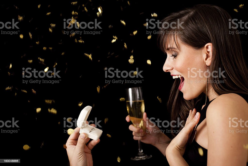 Happy Young Woman Excited by New Year's Proposal royalty-free stock photo