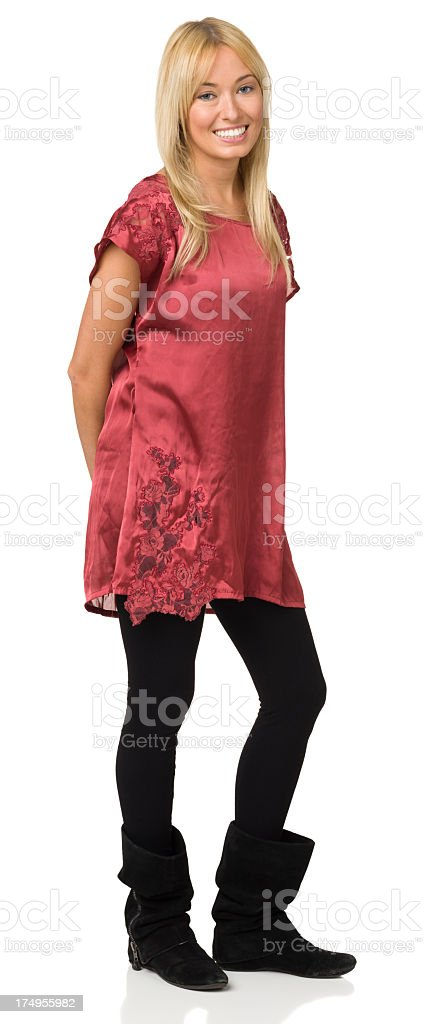 Happy Young Woman Full Length Portrait stock photo