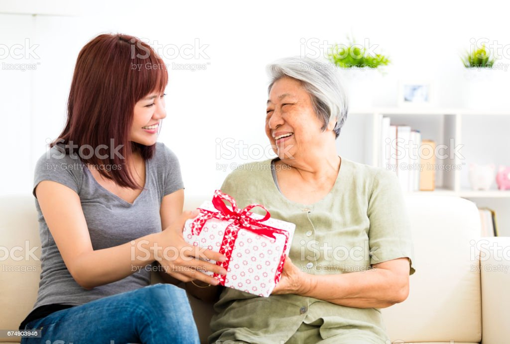 happy  young woman giving  present to grandmother stock photo