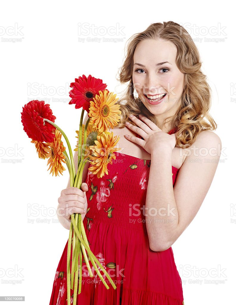 Happy young woman holding flowers royalty-free stock photo