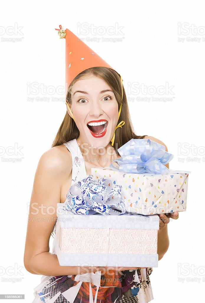 Happy young woman holding the present royalty-free stock photo