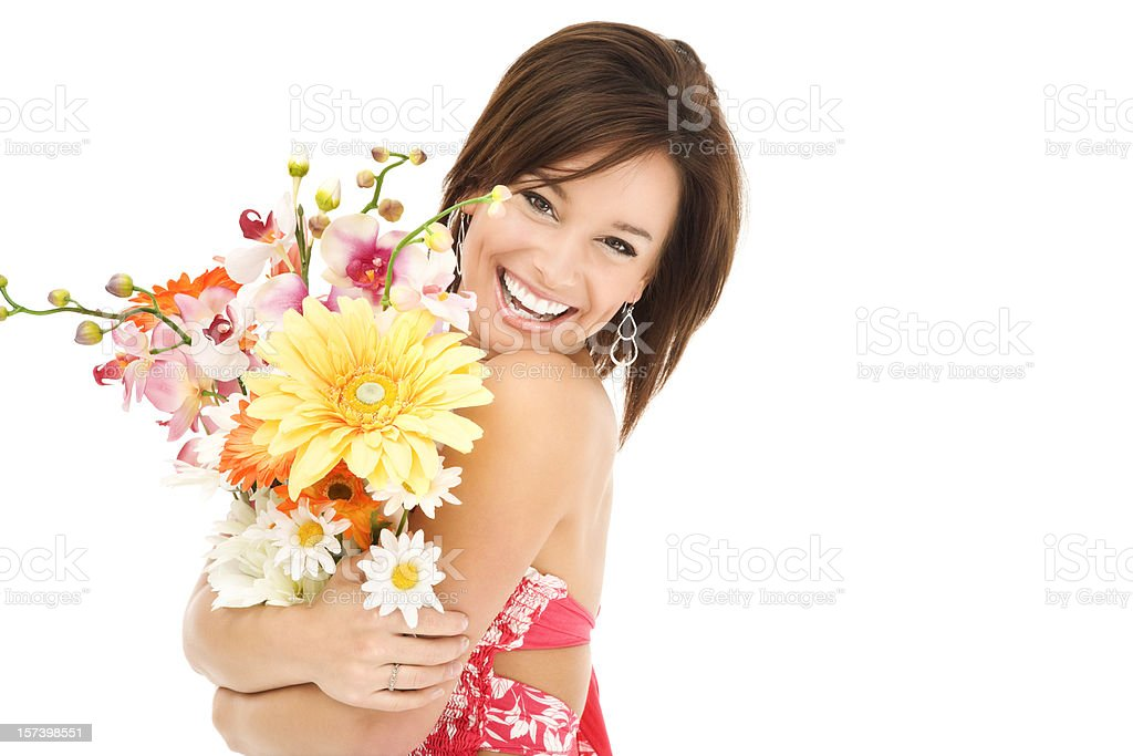 Happy Young Woman Hugging Flowers stock photo
