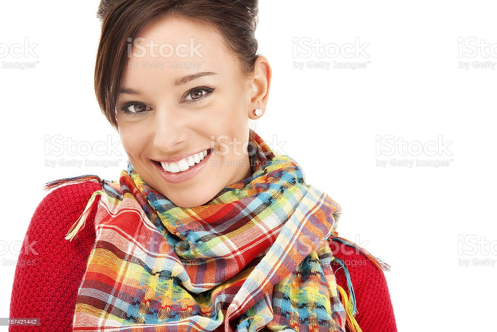 Happy Young Woman in Colorful Scarf royalty-free stock photo