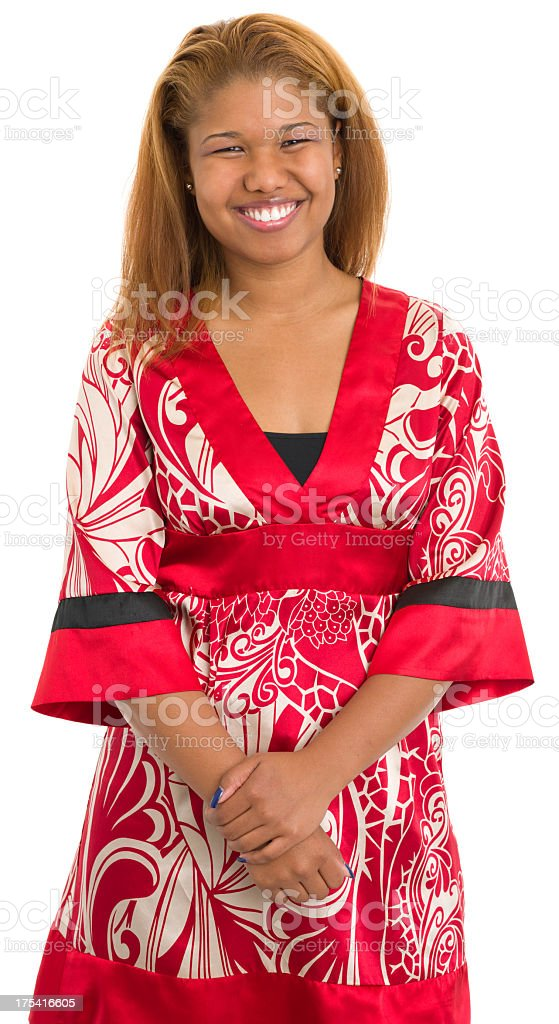Happy Young Woman In Red royalty-free stock photo