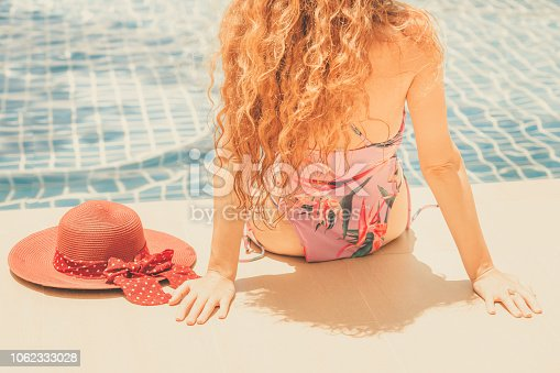1062333060istockphoto Happy young woman in swimsuit at swimming pool. 1062333028