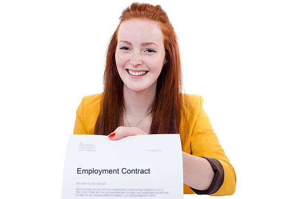 happy young woman is happy about her employment contract - cursed stock pictures, royalty-free photos & images