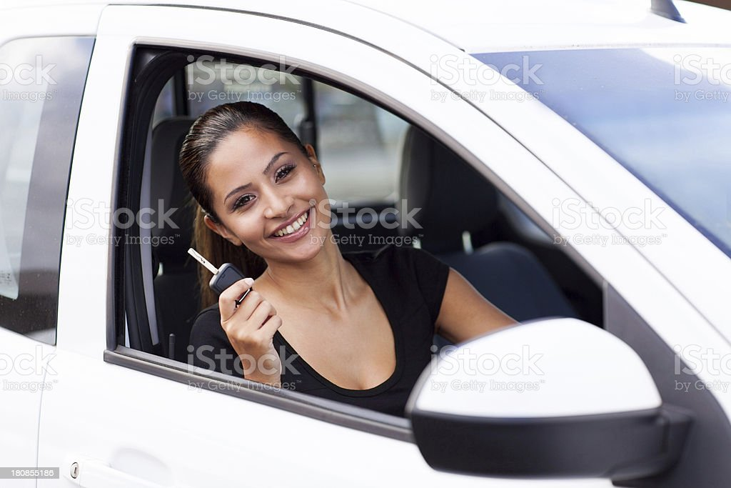 happy young woman just bought new car royalty-free stock photo