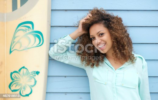 186534921 istock photo Happy young woman leaning on surfboard 462918513