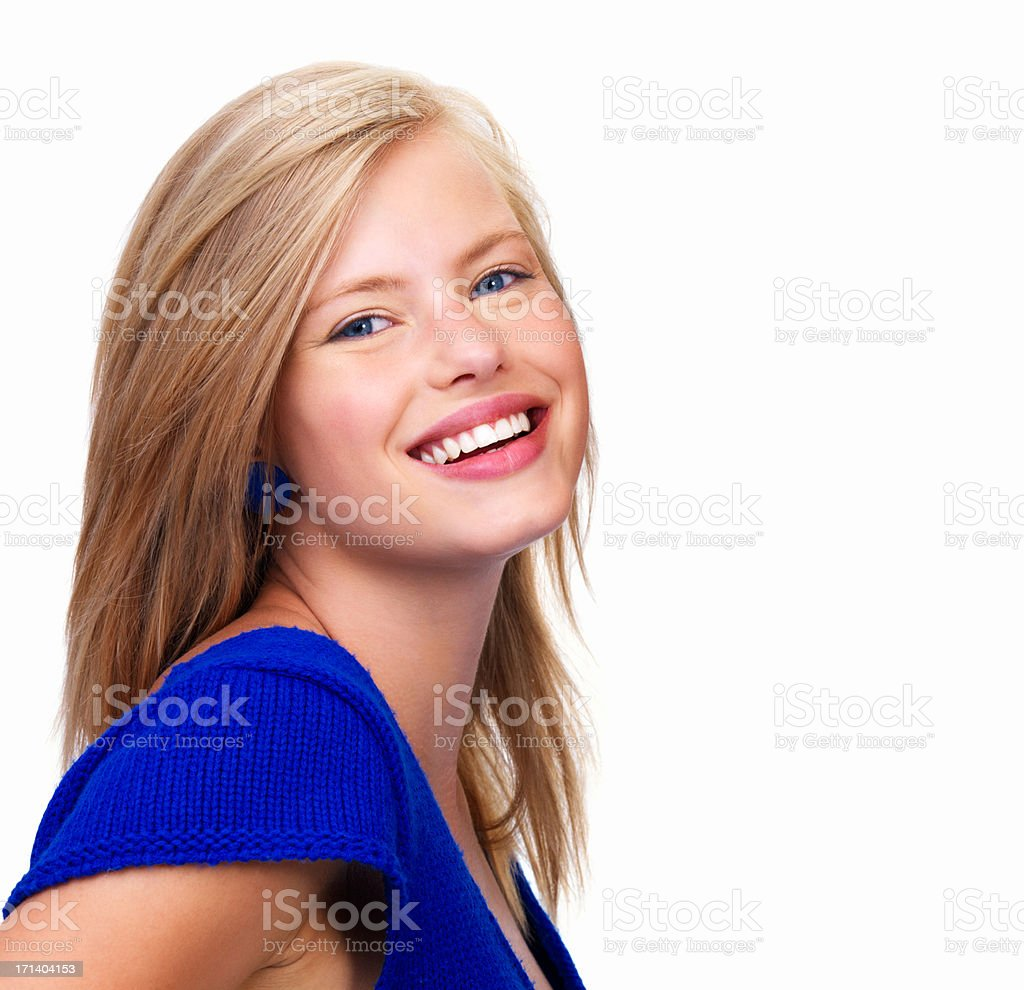 Happy young woman looking at camera royalty-free stock photo
