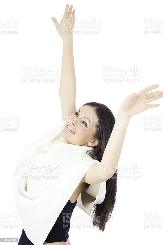 Happy young woman loving life royalty-free stock photo