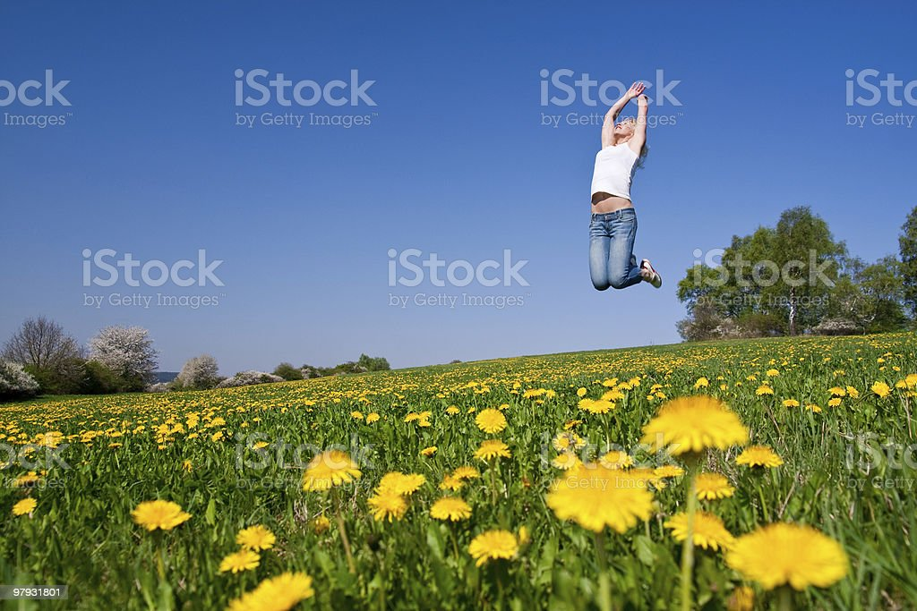 happy young woman on meadow royalty-free stock photo