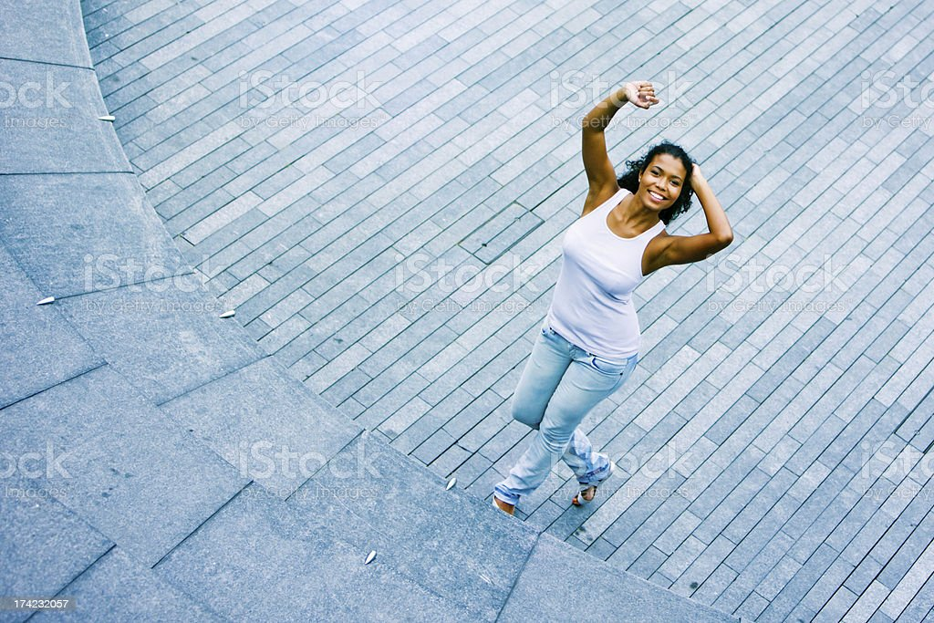 Happy Young Woman on the Street royalty-free stock photo
