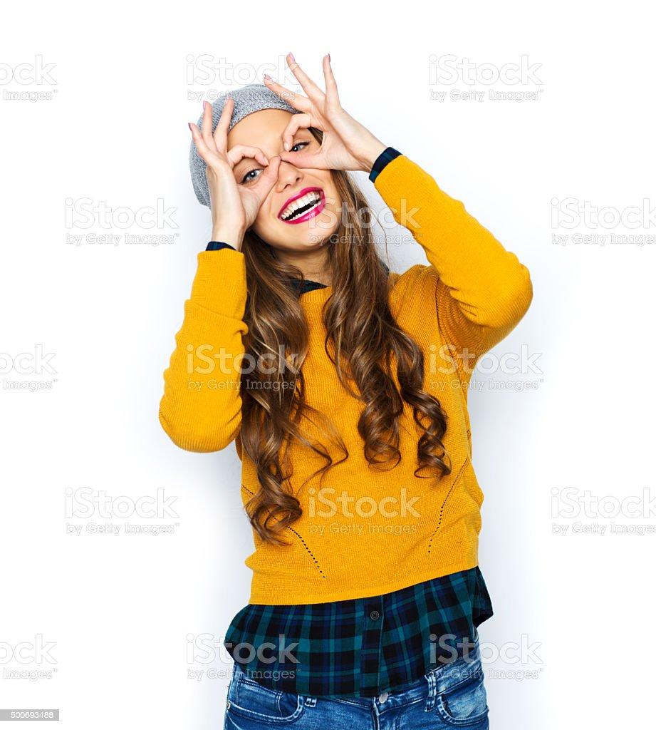happy young woman or teen girl having fun stock photo