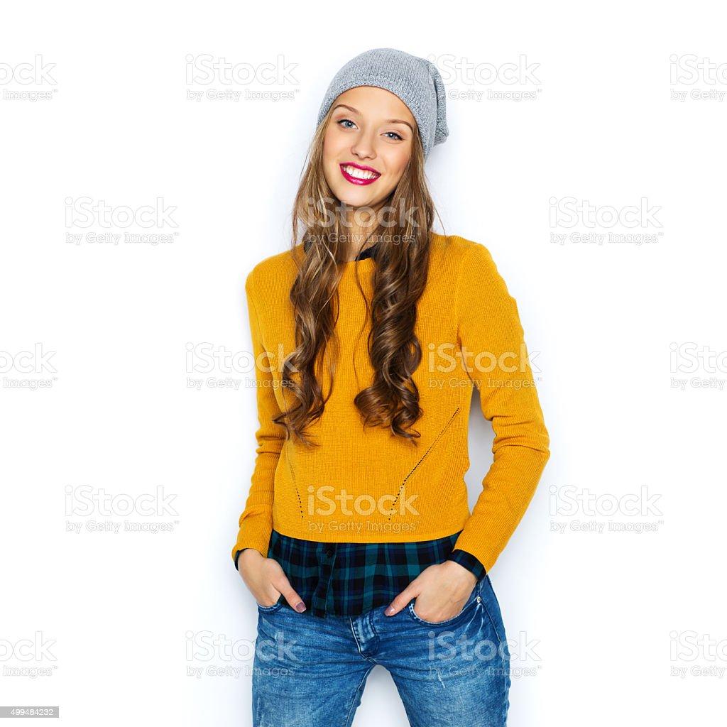 幸せな 10 代の少女や若い女性のカジュアルな服装 ストックフォト