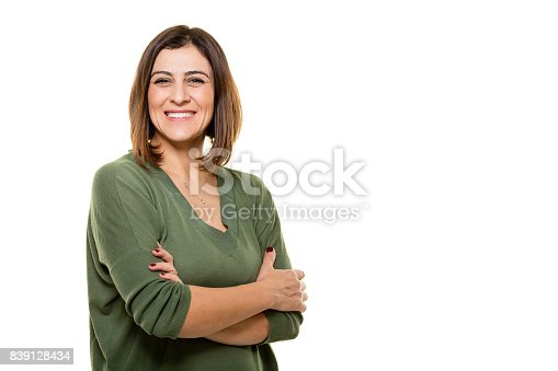istock Happy young woman posing on white background. 839128434