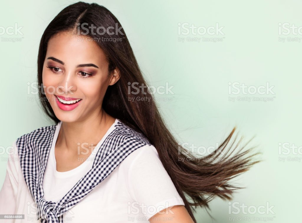 Happy young woman posing,. stock photo