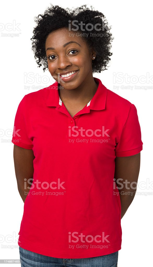 Happy Young Woman Posing, Waist Up Portrait stock photo