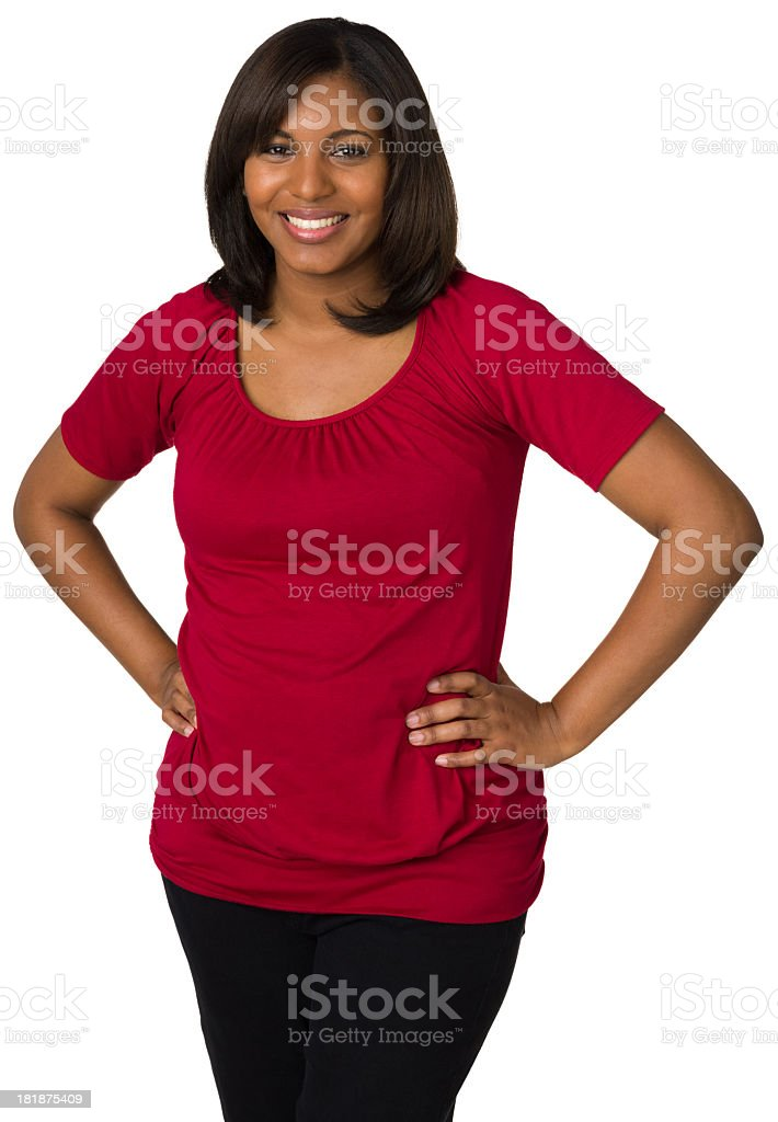 Happy Young Woman Posing With Hands On Hips royalty-free stock photo