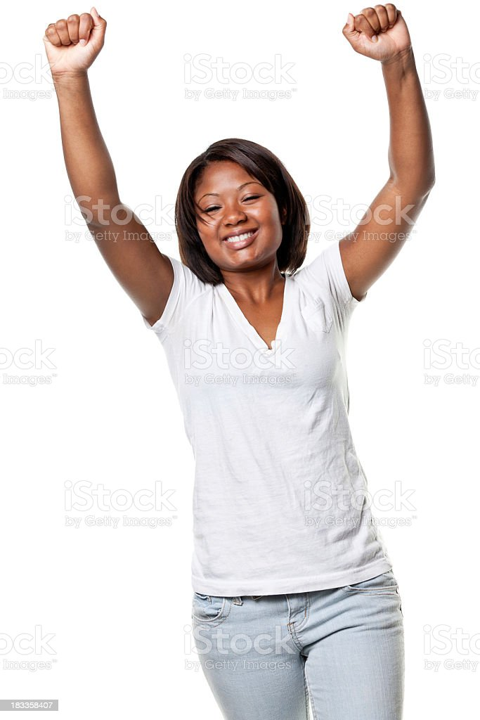 Happy Young Woman Raises Arms royalty-free stock photo