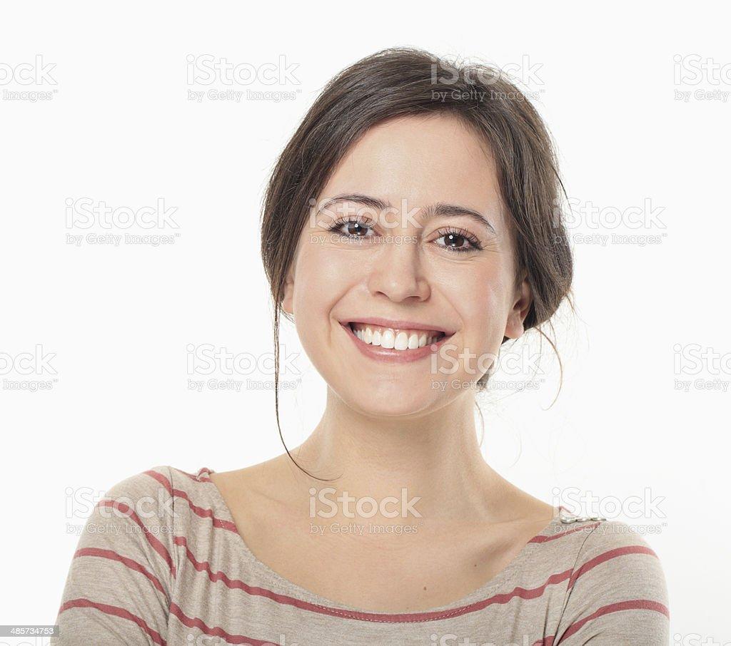 Retrato de mulher jovem feliz sorrindo. - Foto de stock de 20 Anos royalty-free