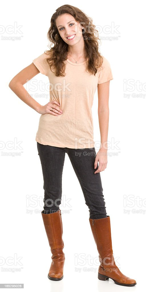 Happy Young Woman Standing stock photo