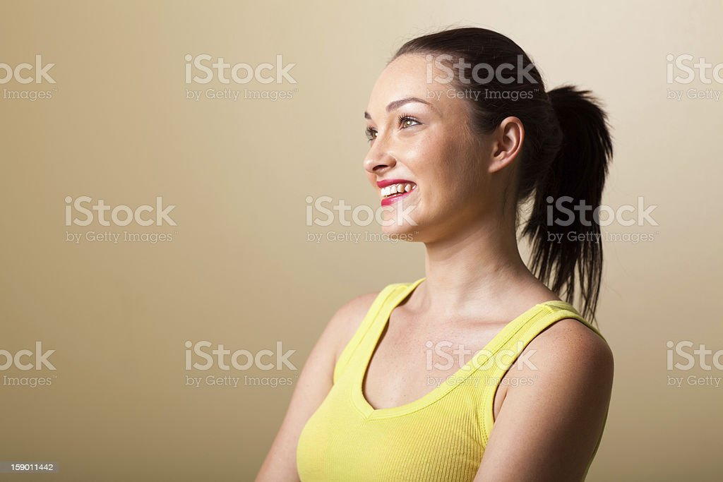 happy young woman studio portrait royalty-free stock photo
