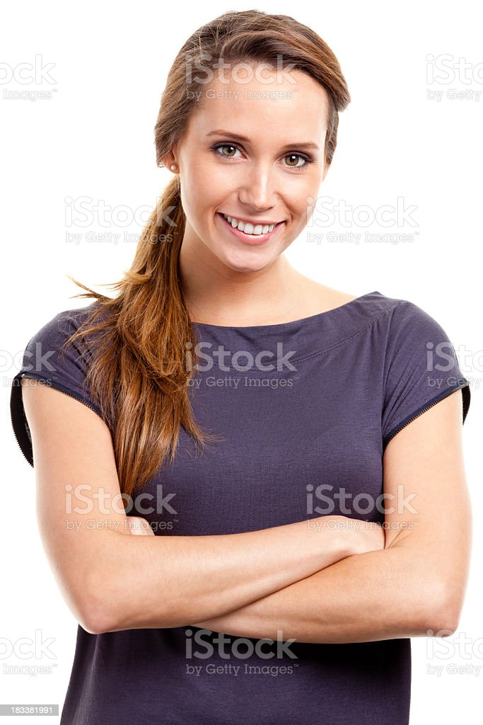 Happy Young Woman Waist-up Portrait stock photo