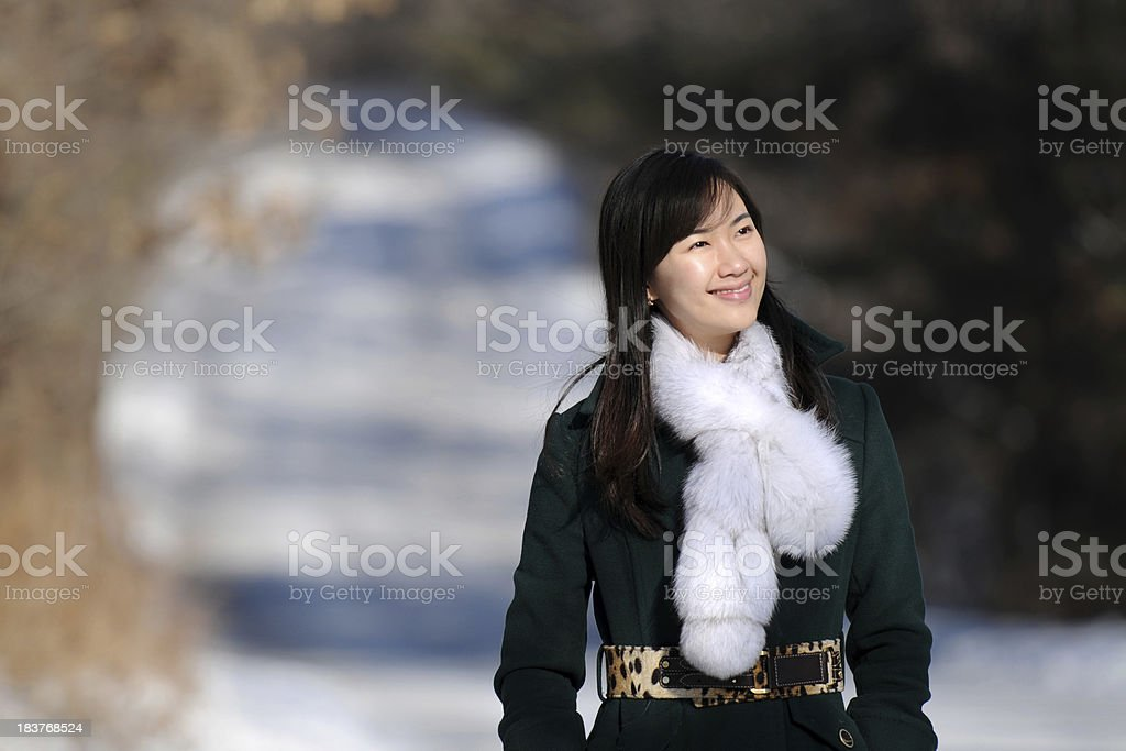 Happy Young Woman Walking At Outdoor In Winter - XLarge royalty-free stock photo